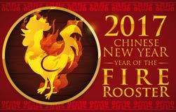 Goldener Hahn im Feuer über hölzernem Knopf für Chinesisches Neujahrsfest, Vektor-Illustration Lizenzfreie Stockfotos