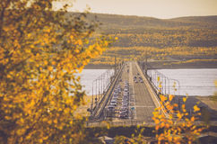 Goldener Herbst in Murmansk Stockfotos