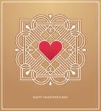 Goldener Herzrahmen für LiebesKonzept des Entwurfes Stockbild
