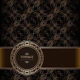 Goldener Hintergrund der Weinlese mit dekorativem Goldaufkleber Stockfotografie