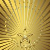 Goldener Hintergrund mit Lichtstrahlen Lizenzfreies Stockfoto