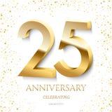 Goldener 25. Jahrestag, der Text und Konfettis auf weißem Hintergrund feiert Jahrestagsereignis der Vektorfeier 25 stock abbildung