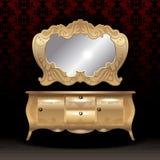Goldener königlicher Spiegel und Schreibtisch, flache Art über dunkelrotem Hintergrund Lizenzfreies Stockfoto