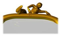 Goldener Kerl über Schild Lizenzfreies Stockfoto