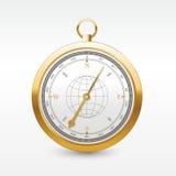 Goldener Kompass der Weinlesewindrose Vektorwind stieg Stockbild