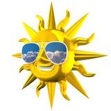 Goldener lächelnder Sun mit Sonnenbrille Stockfotos