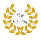 Goldener Laurel Wreath mit dem Wörter ` besten Qualität ` Lizenzfreie Stockbilder