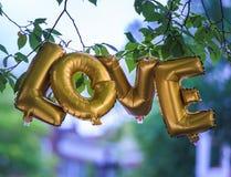 Goldener Liebes-Ballon stockfotografie