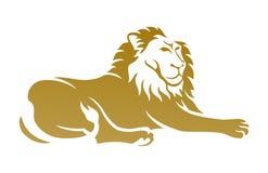 Goldener Lion Logo Designs lizenzfreie abbildung