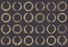 Goldener Lorbeer Wreath Filmfestivalpreise, Siegerschauspielerin zugesprochen, Cannes-Filmblattsymbol-Vektorillustration lizenzfreie abbildung