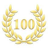 Goldener Lorbeerkranz für 100. Jahrestag auf einem weißen Hintergrund lizenzfreie abbildung