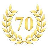 Goldener Lorbeerkranz für 70. Jahrestag auf einem weißen Hintergrund lizenzfreie abbildung