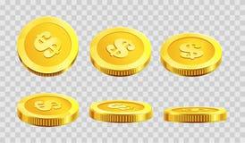 Goldener Münzendollarcent in den verschiedenen Winkelikonen auf transparentem Hintergrund des Vektors stock abbildung