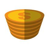 Goldener Münzenstapeldollar-Farbschatten Stockfotos