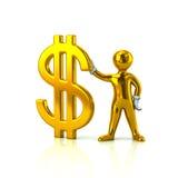 Goldener Mann, der Dollarzeichen hält Stockbilder