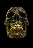 Goldener Metalldrahtschädel über schwarzer polygonaler Oberfläche - mit Arbeitsweg Lizenzfreie Stockfotografie