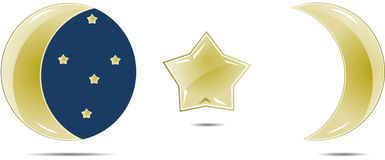 Goldener Monat und Sterne Lizenzfreies Stockfoto