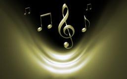 Goldener musikalischer Hintergrund Stockbilder