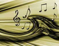 Goldener musikalischer Hintergrund Stockfoto