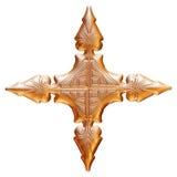 Goldener Ornamental mit Metallaufkleber auf lokalisiertem weißem Hintergrund Stockbilder