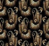 Goldener Paisley-Hintergrund des Vektors Stockfotos