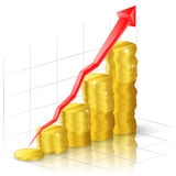 Goldener Pfeil und das Diagramm der Münzen Lizenzfreie Stockfotos
