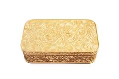 goldener Plastikkasten getrennt auf weißem Hintergrund Stockbild