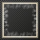Goldener quadratischer Rahmen auf dem Transparenzhintergrund, Grenze mit Funkeln, Sternaufflackern, glänzende Reflexionen Stockfoto