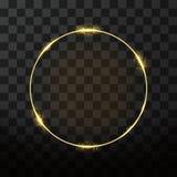 Goldener Rahmen des Vektors mit Glüheneffekt Neonkreisrahmen Stockfotografie