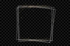 Goldener Rahmen mit Lichteffekten, glänzende Luxusfahnenvektorillustration lizenzfreie abbildung