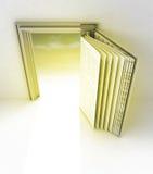 Goldener Rahmen mit Tür als offenem Buch lizenzfreie abbildung