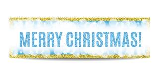 Goldener Rahmen und Schneeflocken der Fahne der frohen Weihnachten lizenzfreie abbildung