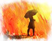 Goldener Regen vom Herbstlaub Stockbilder