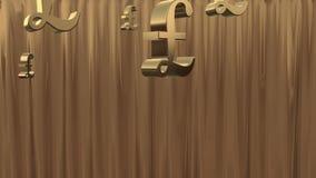 Goldener Regen von Währungszeichen. stock abbildung