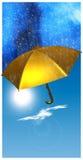 Goldener Regenschirm Stockfotografie