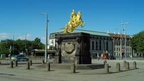 Goldener Reiter, χρυσό αλαζόνας, ιππικό άγαλμα του Αυγούστου ο ισχυρός στοκ φωτογραφία με δικαίωμα ελεύθερης χρήσης
