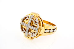Goldener Ring mit Diamanten Stockbilder