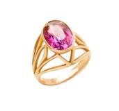 Goldener Ring mit rotem Stein Stockbilder
