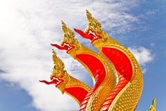 Goldener roter Naga Thailand Lizenzfreies Stockbild