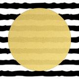 Goldener runder Kreisaufkleber mit Volumenstruktur auf Schwarzweiss-Streifenhintergrund ENV 10 stock abbildung