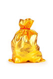 Goldener Sack auf Weiß Stockfotos