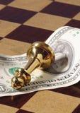 goldener Schachpfandgegenstand auf Amerikaner Lizenzfreie Stockfotos