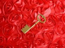 Goldener Schlüssel mit den rosafarbenen Blumenblättern als Symbol der Liebe Lizenzfreies Stockbild