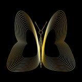 Goldener Schmetterling auf schwarzem Hintergrund Lizenzfreies Stockfoto