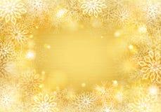 Goldener Schneeflockenhintergrund Lizenzfreie Stockfotografie
