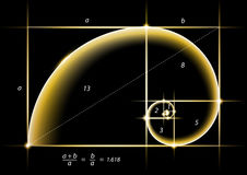 Goldener Schnitt mit Glühengoldlicht auf Schwarzem Lizenzfreie Stockfotos