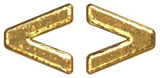 Goldener Schrifttyp. Symbol mehr. Symbol weniger Stockbild