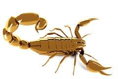 Goldener Skorpion auf weißem Hintergrund Lizenzfreie Stockfotos