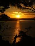 Goldener Sonnenuntergang. Stockfoto