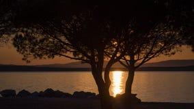 Goldener Sonnenuntergang auf der adriatischen Küste stockbild